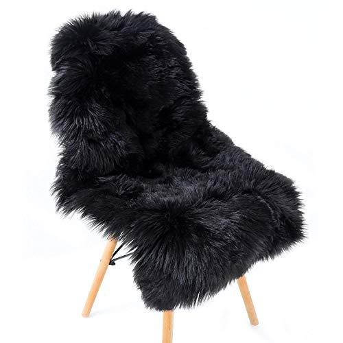 QINGLOU Faux Lammfell Schaffell Teppich (50 X 80 cm) Wohnzimmer Schlafzimmer Kinderzimmer/Als Faux Bett-Vorleger oder Matte für Stuhl Sofa (Schwarz, 50 X 80 cm)
