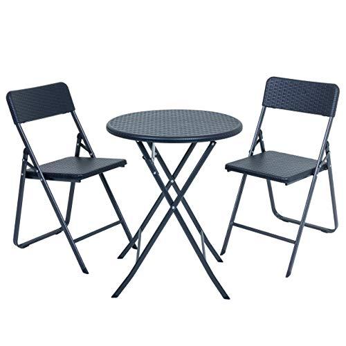 Raburg Balkon-Set Karina Premium - in SCHWARZ, 1 RUNDER Tisch + 2 Stühle, stabile & praktische, 3-teilige Sitzgruppe in Zeitloser Rattan-Optik, klappbar