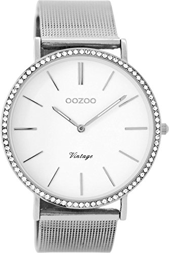 Oozoo Vintage Strass Damenuhr Metallband 40 MM Weiss/Silberfarben C8890