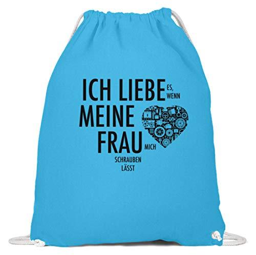 shirt-o-magic Mechaniker: Liebe meine Frau und schrauben - Baumwoll Gymsac -37cm-46cm-Himmel-Blau