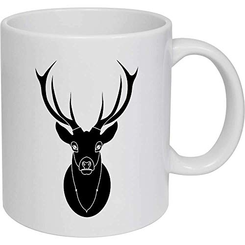 Coffee Mug, Tea Cup, Black Stag Head Ceramic Mug Travel Cup Gifts for Women Men