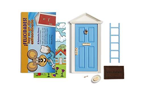 LA PUERTA MÁGICA Ratoncito Pérez Azul + Escalera + Plato + Queso + Felpudo + Llave + Dibujo Fondo de Puerta + Postal de felicitación