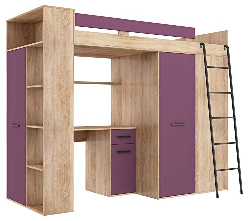 BIM Furniture stapelbed stapelbed Verana P bed 190 x 90 cm met trappen kledingkast rek bureau kindermeubelset rechterkant 90 x 190 cm Sonoma eiken/violet