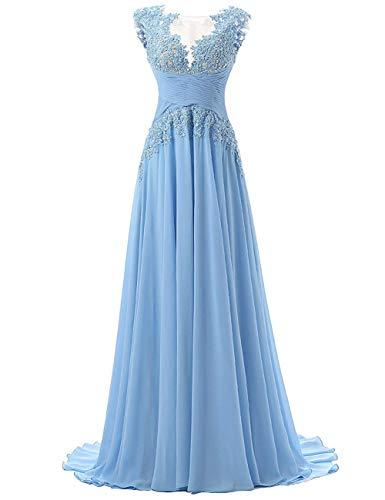 Abendkleider Lang A-Linie Ballkleider Brautjungfernkleider Spitzen Hochzeitskleid Empire Festkleider Hellblau 52