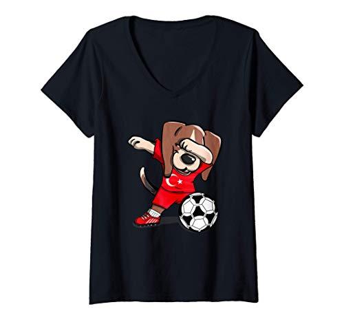 Mujer Funny Dabbing Beagle Dog Turquía Fútbol - Bandera turca Camiseta Cuello V