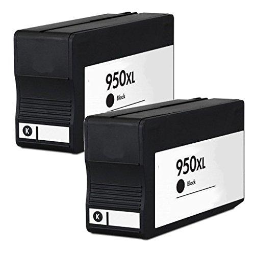 2inkjet© 2 Pack 950XL (CN045AN) Black Remanufactured Ink Cartridge for OfficeJet Pro 8100, 8600, 8600 Premium, 8610, 8620, 8630, 251dw, 276dw MFP Printer