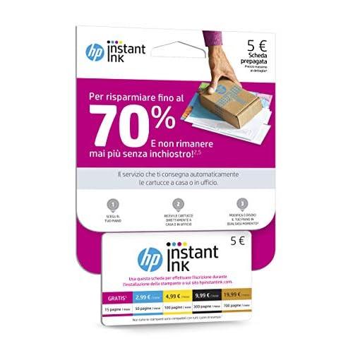 Scheda Prepagata per Registrazione al Servizio HP Instant Ink, Card dal Valore di Cinque Euro, Scheda da Utilizzare Durante l'Installazione Guidata della Stampante con HP Instant Ink