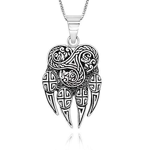925 Sterling Silver Celtic Viking Bear Paw Pendant Necklace, 18'
