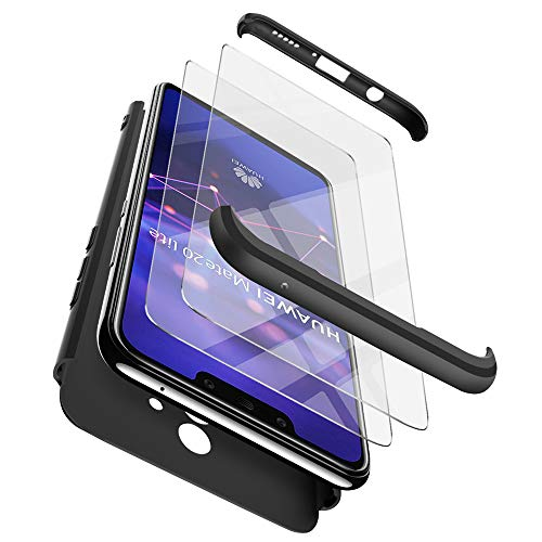 Funda Huawei Mate 20 Lite + 2 paquetes de Huawei Mate 20 Lite Protector de pantalla , ivencase Híbrido Premium Resistente 3 en 1 Caso Protectora Dura Antiarañazos Para PC y Parachoques Resistente a los Arañazos para Huawei Mate 20 Lite Negro