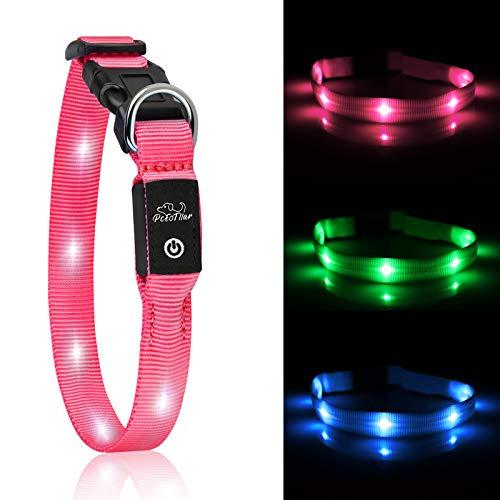 PcEoTllar LED Hundhalsband Leuchthalsband Klein Hund Leicht USB Wiederaufladbar Einstellbar Super Hell für die Nacht - Rosa - XS