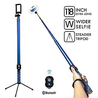 Bluetooth Long Selfie Stick- Super Length Lightweight Extendable Pole from 20'' to 118 Built-in Wireless Remote Shutter Grip Holder Mount Compatible iPhone Samsung Android Cell Phone(Blue) from BMZX