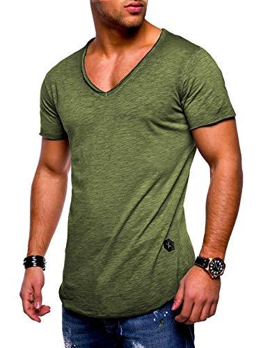 Rello & Reese Herren T-Shirt Kurzarm Basic Oversize V-Neck MT-7102 [Khaki wash, M]