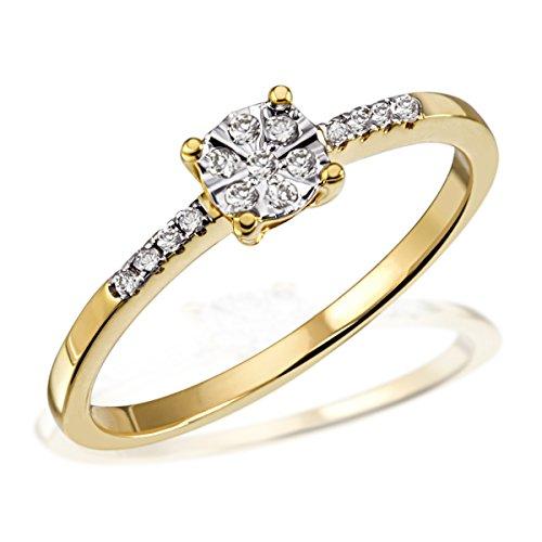 Goldmaid Damen-Ring 14 Karat (585) Gelbgold Diamant Gr.60 (19.1) Pa R6337GG60 Verlobungsring Diamantring