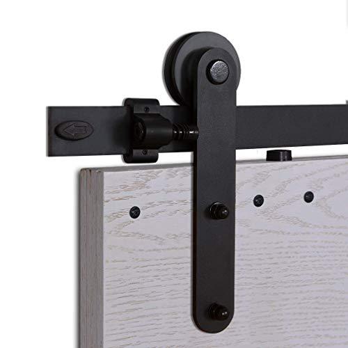 CCJH 6.6FT-200cm Acciaio Binario Rulli per Porta Scorrevole Kit Accessori per Una Porta Scorrevoli di Legno Stile Rustico