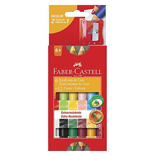 Eco Giz de Cera 12 Cores, Faber-Castell, HT141412, Multicor