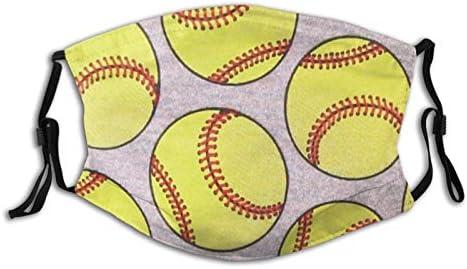 Cute Softball Adjustable Washable Face Mask 2 Pieces of Filter Reusable Bandanas Balaclava Masks product image
