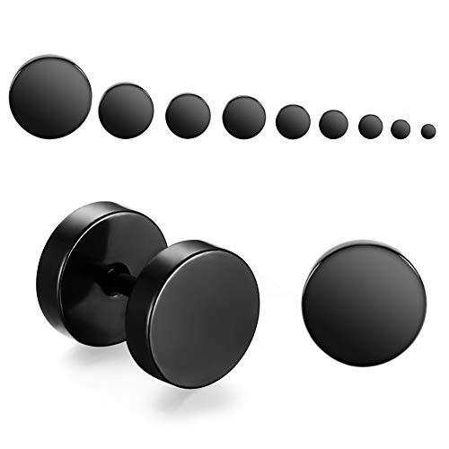 WLZP 3-12mm Orecchini Set 9 Paia 1.2mm in Acciaio Inossidabile 316L Plug Finto Finti dilatatori Fake Plug Fakeplugs Orecchini Mini Orecchini per Uomo