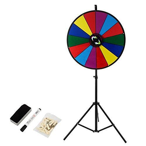 BuoQua 18Inch Gioco Ruota della Fortuna con Il Basamento del Treppiedi 3.2kg Roulette Casinò E Attrezzature Il Supporto Sfondo Colorato da Tavolo Fortune Spinning Prize Wheel per Spin Game Carnival