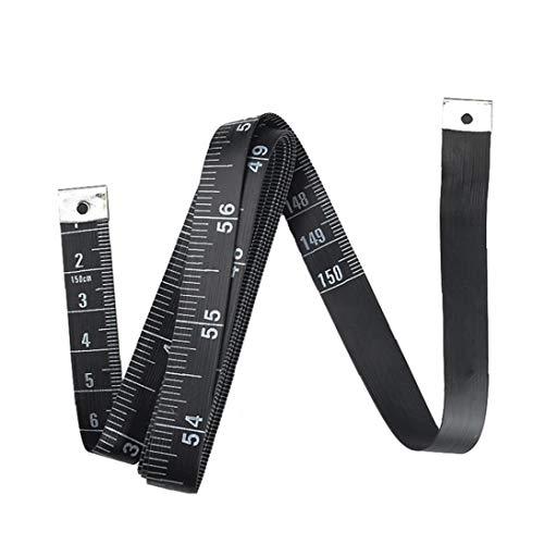 La regla del sastre de la costurera suave cinta métrica de costura cinta de medición por costura a medida Medición de cinta 1pc Negro 60 pulgadas