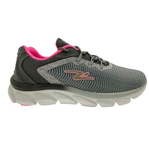 ADRUN 8306 Flex Power - Zapatillas para mujer, color gris y fucsia con espuma viscoelástica, Gris, 36 EU