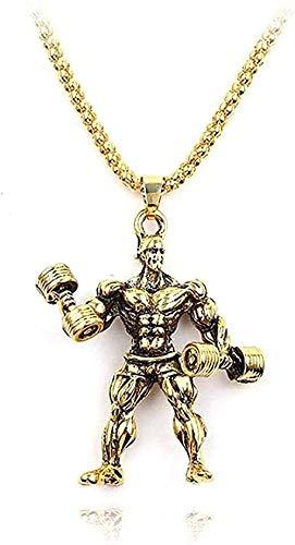 Liuqingzhou Co.,ltd Collar Collar Collar 3D Mancuerna Colgante Hombres LiChain Fitness Atlético Hombre Fuerte Hippie Collar Hip Hop Joyería-Oro