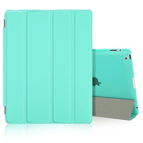 Besdata iPad 2 3 4 Hülle Smart Cover Schutz Hülle Leder Tasche Etui für Apple iPad Ständer Sleep Wake mit Bildschirmschutzfolie Reinigungstuch Stift Minze-Grün
