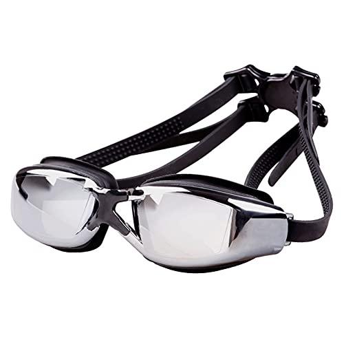 LIMESI Gafas de Natación HD Antivaho Miopía, Gafas Nadar con Polarizada sin Fugas Protección UV Correa de Silicona Ajustable para Espejo para Adultos y Adolescentes Miopes-3.0