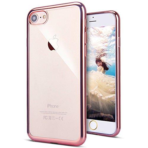 KunyFond Plating Glänzend Glitzer Schutzhülle Silikon Hülle Crystal Clear TPU Handyhülle Case Durchsichtig Stoßdämpfend Transparent Weichem Flexible Tasche Bumper Schale für iPhone SE/5S/5 (Roségold)