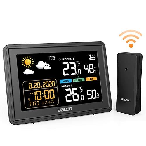 BACKTURE Wetterstation mit Außensensor Digitale Farbdisplay DCF Funkuhr Thermometer Hygrometer Multifunktionale Funkwetterstation Monitor Temperatur/Feuchtigkeit/Uhrzeitanzeige/Wettervorhersage/Wecker
