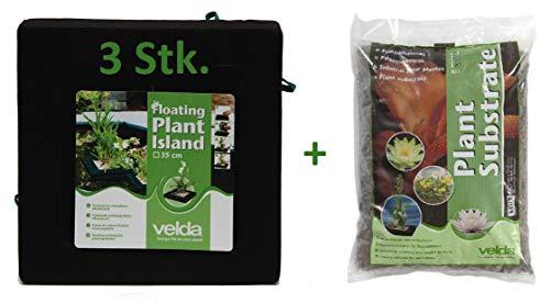 Velda Pflanzinsel -Set 3 Pflanzinseln eckig 35 cm inkl. Pflanzgranulat für Teichpflanzen