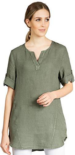 Caspar BLU023 długa elegancka damska bluzka z długim rękawem na lato lniana długa bluzka