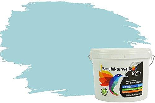 RyFo Colors Bunte Wandfarbe Manufakturweiß Gletscherblau 3l - weitere Blau Farbtöne und Größen erhältlich, Deckkraft Klasse 1, Nassabrieb Klasse 1