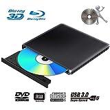 Externes 3D Blu Ray DVD Laufwerk Brenner USB 3.0 Tragbare Ultra Slim BD/CD/DVD RW Player Disc für Windows 10/7/8.1 / Vista/XP/Mac OS Linux, PC