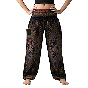 bangkokpants de las mujeres Boho pantalones hippie ropa yoga trajes diseño de pavo real talla única | DeHippies.com