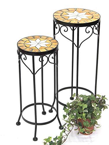DanDiBo Blumenhocker Mosaik Rund 2er Set 46 und 54 cm Blumenständer 12011 Beistelltisch Pflanzenständer Mosaiktisch