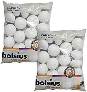 BOLSIUS Unscented Floating Candles – Set of 40 White Floating Candles – Cute and Elegant Burning Candles – Candles with Nice and Smooth Flame – Party Accessories