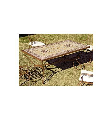 Forja Hispalense Mesa de jardín Marbella - Amarillo 50, Pie de Mesa con Tapa de Cristal