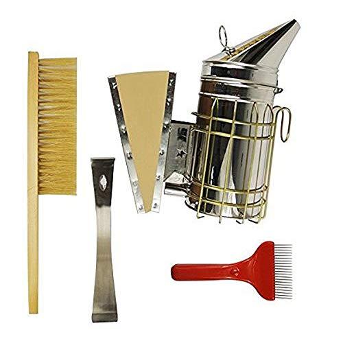 Monland Satz Von 4 Bienenzucht Werkzeug Satz, Edelstahl Bienen Stock Werkzeug, Bienen Bürste, Raucher, Kammwachs Extraktions Gabel