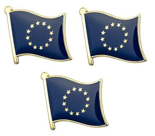 Tanto Badges Set di 3 x Badge in Metallo smaltato con Bandiera dell'Unione Europea, 19mm x 15mm