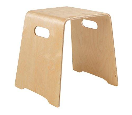 Home4You Holzhocker Stapelhocker Sitz-Hocker | Birke Schichtholz Natur lackiert | Sitzhöhe 45,5 cm
