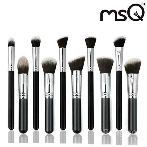 PKA MSQ Lot de 10 pinceaux de maquillage pour cheveux de chèvre Noir