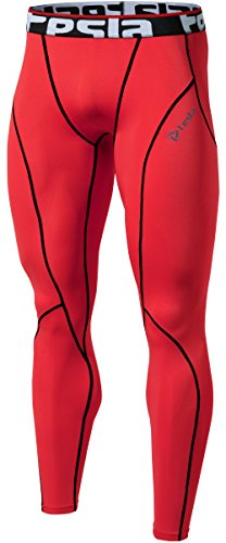 TSLA Men's Compression Pants, Cool Dry Athletic Workout Running Tights Leggings with Pocket/Non-Pocket, Compression Zero Pants Red, Medium