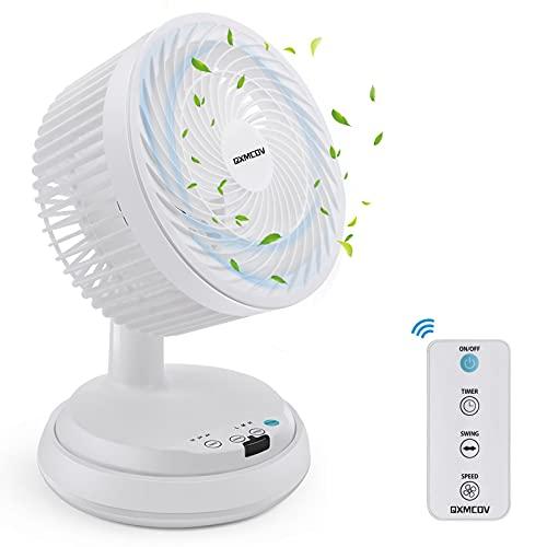 Ventilatore da Tavolo Silenzioso Turbo, Qxmcov Ventilatore Circolare Aria con Telecomando, 3 Velocità, Timer, Ventilatore da Scrivania per Casa, Ufficio, Auto
