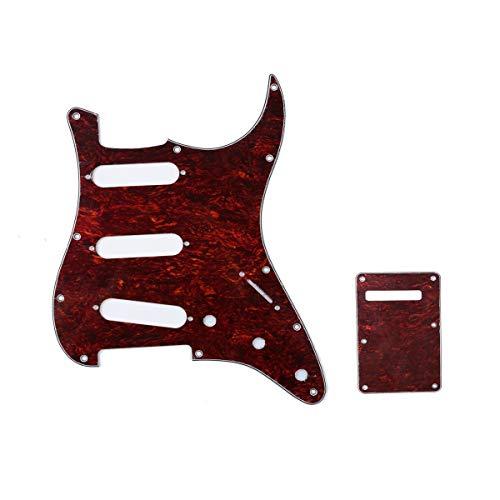 Musiclily SSS Set de Pickguard Golpeador y Placa Trasera Strat para Fender American/México Standard Stratocaster Estilo Moderno, 4 capas Red Tortoise