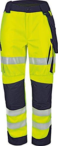 Vizwell Signal Warnschutz Bundhose Warnschutzkleidung + Gratis Werkzeugtasche (68, Leuchtgelb-Marine)