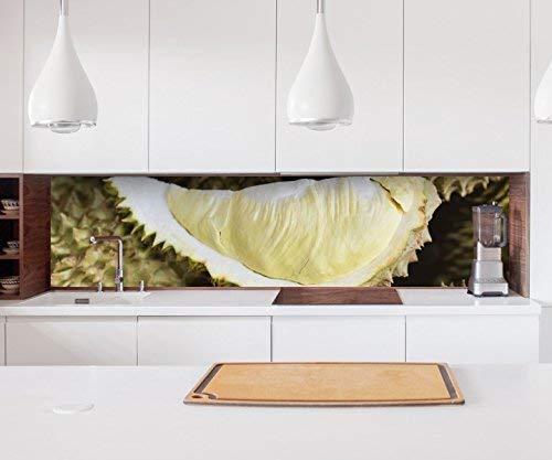 Aufkleber Küchenrückwand Durian Obst Pflanze Essen Küche Kern Folie selbstklebend Dekofolie Fliesen Möbelfolie Spritzschutz 22A436, Höhe x Länge:60cm x 400cm