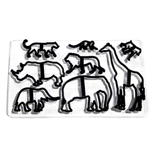 Yintiod 8 STÜCKE Tier Ausstecher Kunststoff Elefant Lion Giraffe Leopard Fondant Cutter Safari Silhouette Kuchenform Kuchen Dekorieren Tools