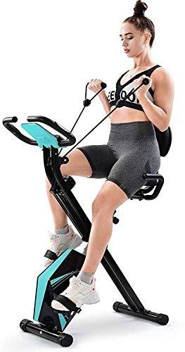 Bicicleta Estática Plegable con Respaldo Sillin Ajustable, Bicicleta Fitness 2 Bandas Pantalla...