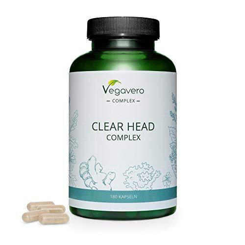 Migraña Complex Vegavero® | Alivio & Prevención | Manzanilla + Jengibre + Ulmaria + Salix Alba | Dolor de Cabeza & Migrañas | Sin Aditivos | Con Magnesio & Vitamina B2 | Vegano | 180 Cápsulas