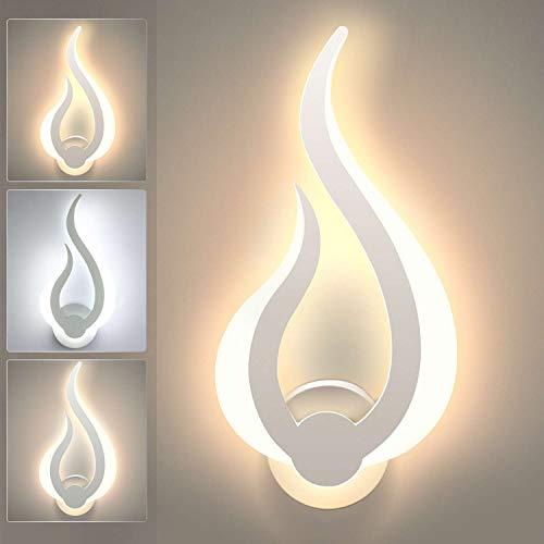 Lightess Dimmbare LED Wandlampe Innen 10W Wandlampe Dimmbar Modern Flurlampe Flammenform Wandlicht Acryl Beleuchtung für Treppenhaus Flur Wohnzimmer Schlafzimmer Kinderzimmer usw.